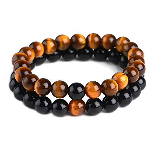 iSTONE Jewelry 2pcs Natural Gemstone 8MM Tiger Eye and Black Agate Couple Distance Round Beads Stretch Bracelets 204700403 12mm Round Beads Stretch Bracelet