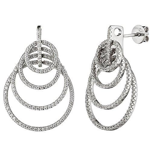 Jobo Boucles d'oreilles en argent sterling 925avec Zirconium Boucles d'oreille argent Boucles d'oreilles