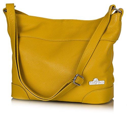 Yellow Hobo Handbag (LiaTalia Womens Genuine Italian Leather Medium Hobo Shoulder bag with Protective Dust Bag - Jane (Mustard Yellow))