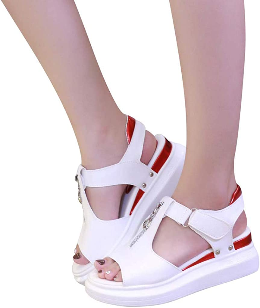 Mnowson Womens Peep Toe Front Zipper Cutout Sandals,Casual Fashion Hook and Loop Studded Outdoor Platform Wedge