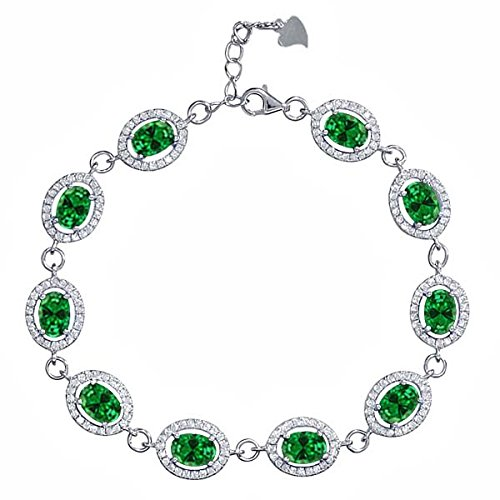 Gem Stone King 15.28 Ct Oval Green Simulated Emerald 925 Sterling Silver 7.5inches Bracelet