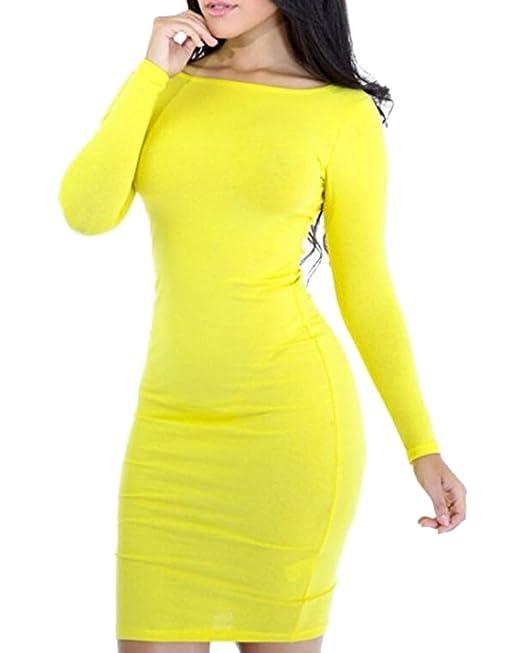 Mujer Vestido Ajustado Manga Larga Elegantes Mini Vestidos de Fiesta Cortos Amarillo L