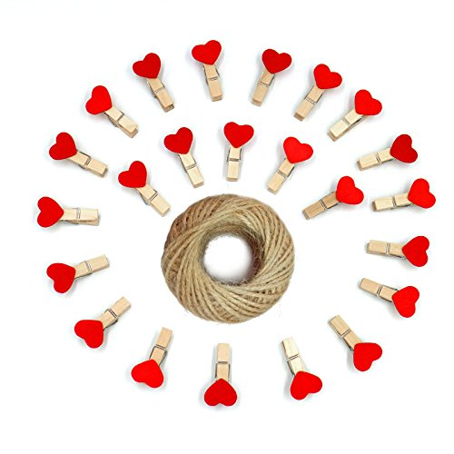 Red Heart Photo - KINGLAKE 100 Pcs 3.5cm Red Heart Mini Wooden Clothespins with Spring Photo Paper Peg Pin Craft Clips Wooden Mini Clips with 100 Feet Jute Twine