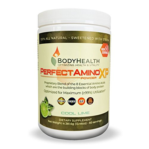BodyHealth PerfectAmino XP Cool Lime (60 Servings) Best Pre/Post Workout Recovery Drink, 8 Essential Amino Acids Energy Supplement with 50% BCAAs, 100% Organic, 99% Utilization for Maximum Power