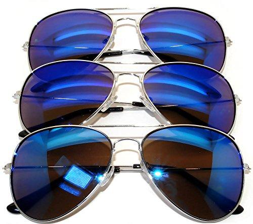 Aviator Classic Sunglasses Black Silver Bronze Gold Blue Green Yellow White... (3 pairs BLUE) OWL.