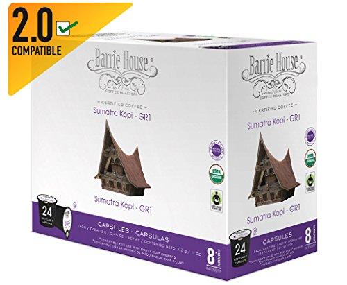 Barrie House Organic & Fair Trade Certified Sumatra Kopi Gr-1 Single Cup Capsules (72 Capsules)