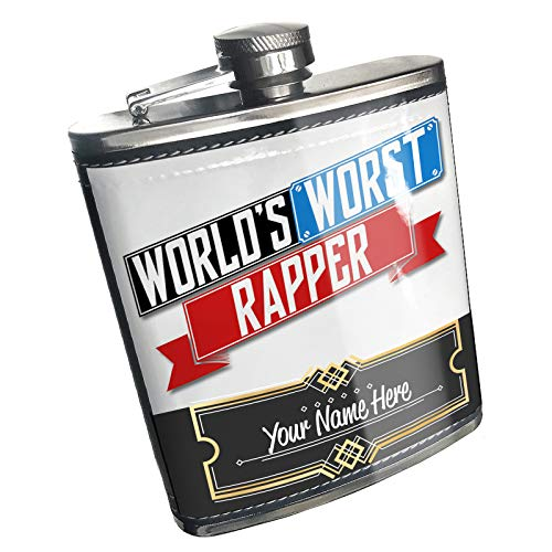 Neonblond Flask Funny Worlds worst Rapper Custom Name Stainless Steel