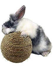 sfadf Kauwballen, kleine dieren, kauwspeelgoed, hazen kauwspeelgoed, cavia's, speelgoed, natuurgrasbal voor tandreiniging, geschikt om te spelen met katten, konijnen en kleine knaagdieren