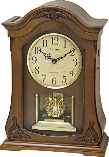 Rhythm Clocks Luminous Queen Wooden Musical Mantel Clock