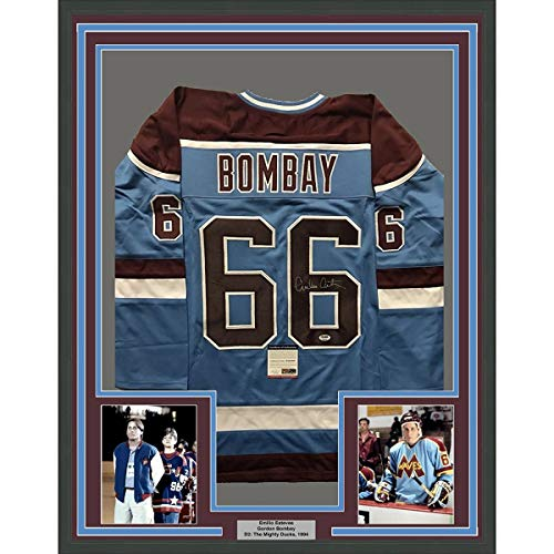 Framed Autographed/Signed Emilio Esteves Gordon Bombay 33x42 D2 The Mighty Ducks Minnehaha Waves Hockey Jersey PSA/DNA COA ()
