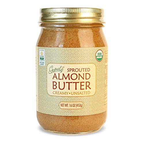 Gopal's Organic RAW SPROUTED Almond Butter, USDA Organic and Gluten-Free, Creamy and Unsalted, 16 Ounce (453 Grams) Glass Jar Almonds 16 Oz Jar