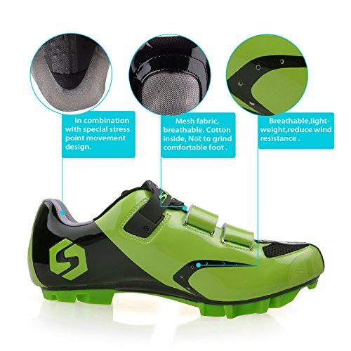 Smartodoors Herren Mountainbike Rennrad Schuhe Professional Racing Cyclin Grün für MTB