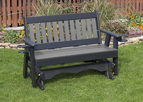5FT-DARK GRAY-POLY LUMBER Mission Porch GLIDER with Cupholder arms Heavy Duty EVERLASTING PolyTuf HDPE – MADE IN USA – AMISH CRAFTED Review