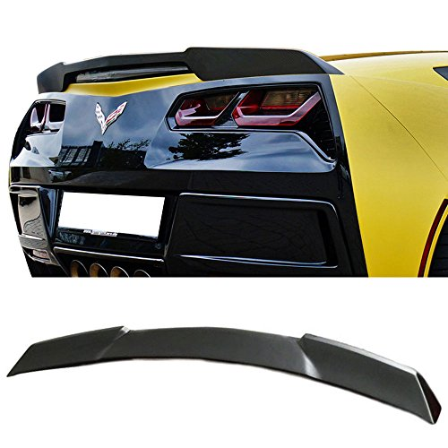 Trunk Spoiler Fits 2014-2018 Chevy Corvette C7 | ZR51 Style Unpainted Fiber Glass Car Exterior Rear Spoiler Wing Tail Roof Top Lid by IKON MOTORSPORTS | 2015