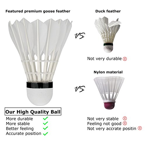 Badminton Shuttlecocks,Lhedon 12Pcs Advanced Goose Feather Shuttlecocks Training Badminton Balls with Great Stability and Durability for Indoor Outdoor Sports