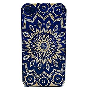 NADIA Iphone 4 case, JAHOLAN Blue Totem Flower Black Bumper Hard Plastic Case Silicone Skin Cover for Apple Iphone 4s 4