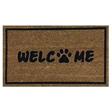 Paw Print Welcome  Doormat by Castle Mats, Size 18 x 30 inches, Non-Slip, Durable, Made Using Odor-Free Natural Fibers