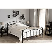 Baxton Studio Eileen Vintage Industrial Black Finished Metal Queen Size Platform Bed