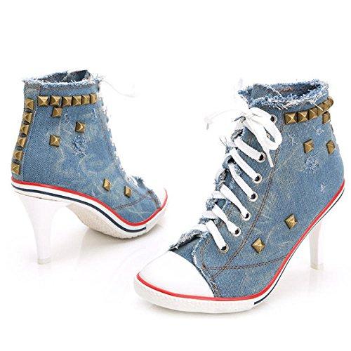 Sneaker Pump Heels High High Schuhe Schuhe Damen Up Wedges Canvas Fashion blue Lace JQNSX Bqw5n