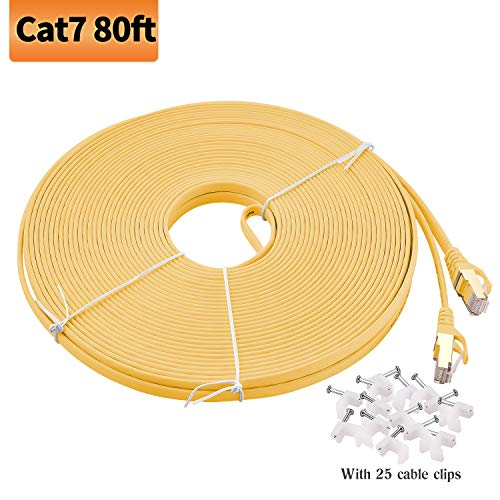 (Viodo Compatible with Cat 7 Ethernet Cable,Flat Internet Network LAN Patch Cords, Cat7 10GB Fastest Shielded (STP) Computer Internet Cable with Clips & Snagless Rj45 - More Feet & Colors Choose)