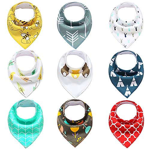 Organic Fleece (9- Pack Baby Bandana Drool Bibs for Drooling and Teething, 100% Organic Cotton and Fleece Unisex super absorbent Organic Cotton, Cute Baby Gift for Boys & Girls, Toddler Baby Shower gift)