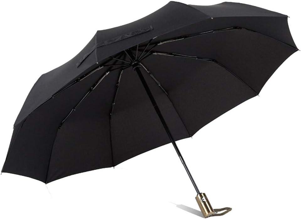 HongTeng Umbrella Automatic Tri Fold Windproof Strong Men and Women Sunscreen Scrub Handle Business Color : Blue