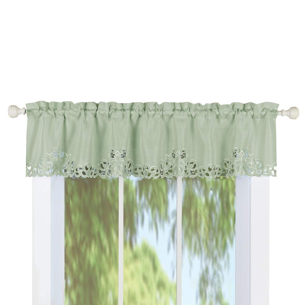 Collections Etc Scroll Embroidered Cutout Window Curtains - Seasonal Window Accent for Any Room in Home, Sage, Valance