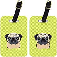 Caroline's Treasures BB1324BT Pair of Checkerboard Lime Green Fawn Pug Luggage Tags, Large, Multic
