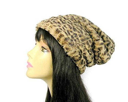 7ff01b0cd8abd Amazon.com  Faux Fur Leopard Beanie Faux Fur Leopard Slouchy Hat Faux Fur  Slouchy Beanie Womens Fur Hats  Handmade
