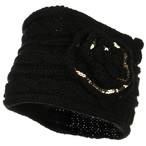 Soft Knit Winter Headband Earmuffs Black w/ Gold Accented Flower