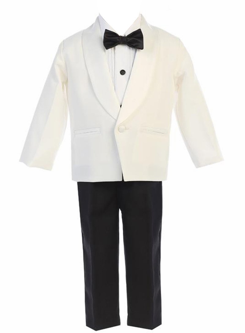 iGirldress Little Boys Ivory Jacket Black Pants Shirt Bowtie Tuxedo Ring Bearer Suit Size 6