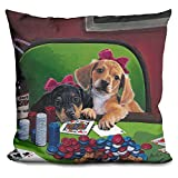 LiLiPi Poker Dogs 3 Decorative Accent Throw Pillow