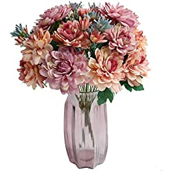 Htmeing 10 Heads Artificial Mum Gerbera Daisy Flowers Marigold Bouquet for Office Home Ceremony Halloween Decor, Pack of 2 (Fuchsia)