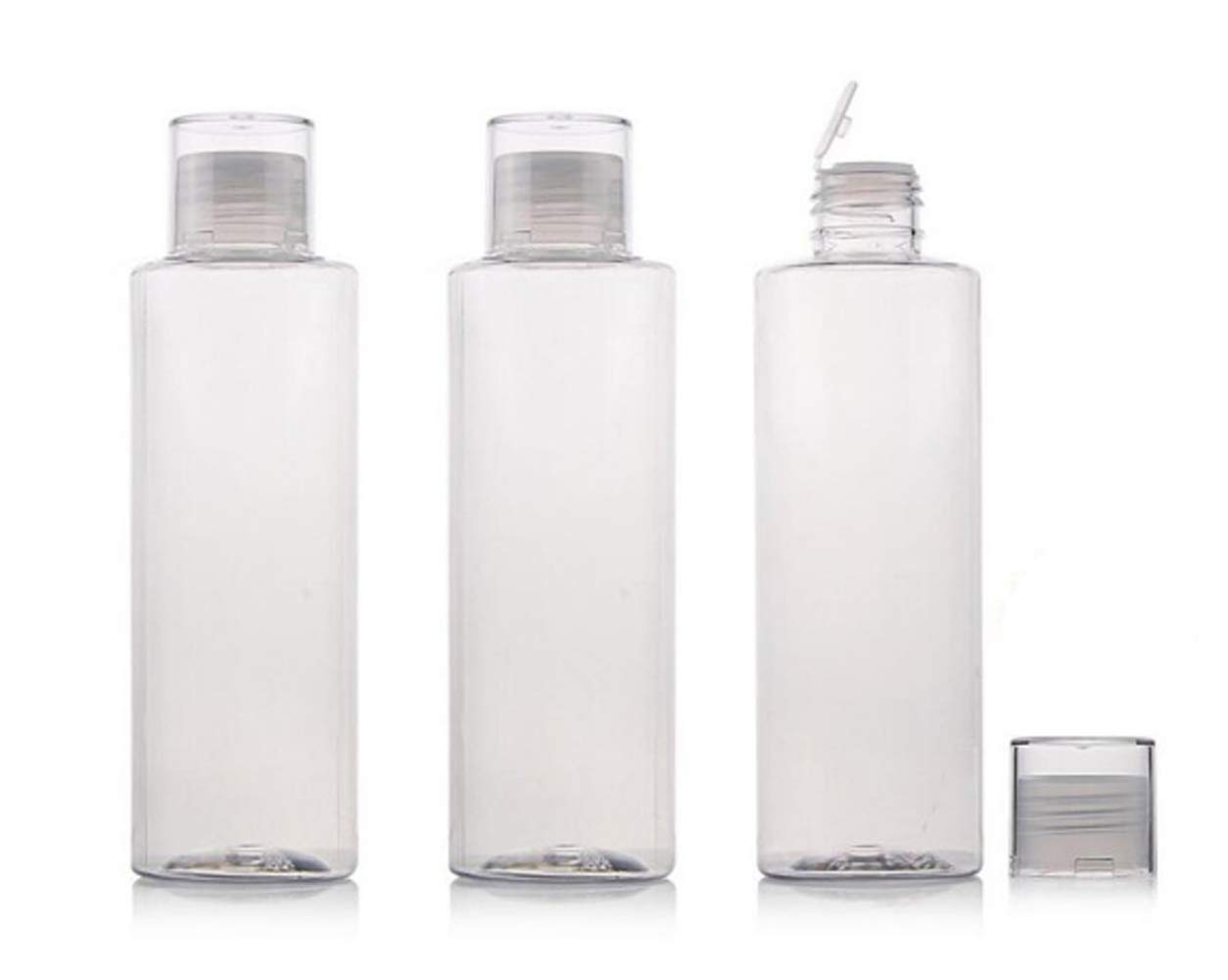3PCS 150ml/5oz Empty Clear Plastic Soft Squeeze Bottle With Flip Cap Refillable Cosmetic Makeup Travel Sample Packing Tube Container Jars for Cosmetic Bath Shower Gel Lotion Liquid Shampoo