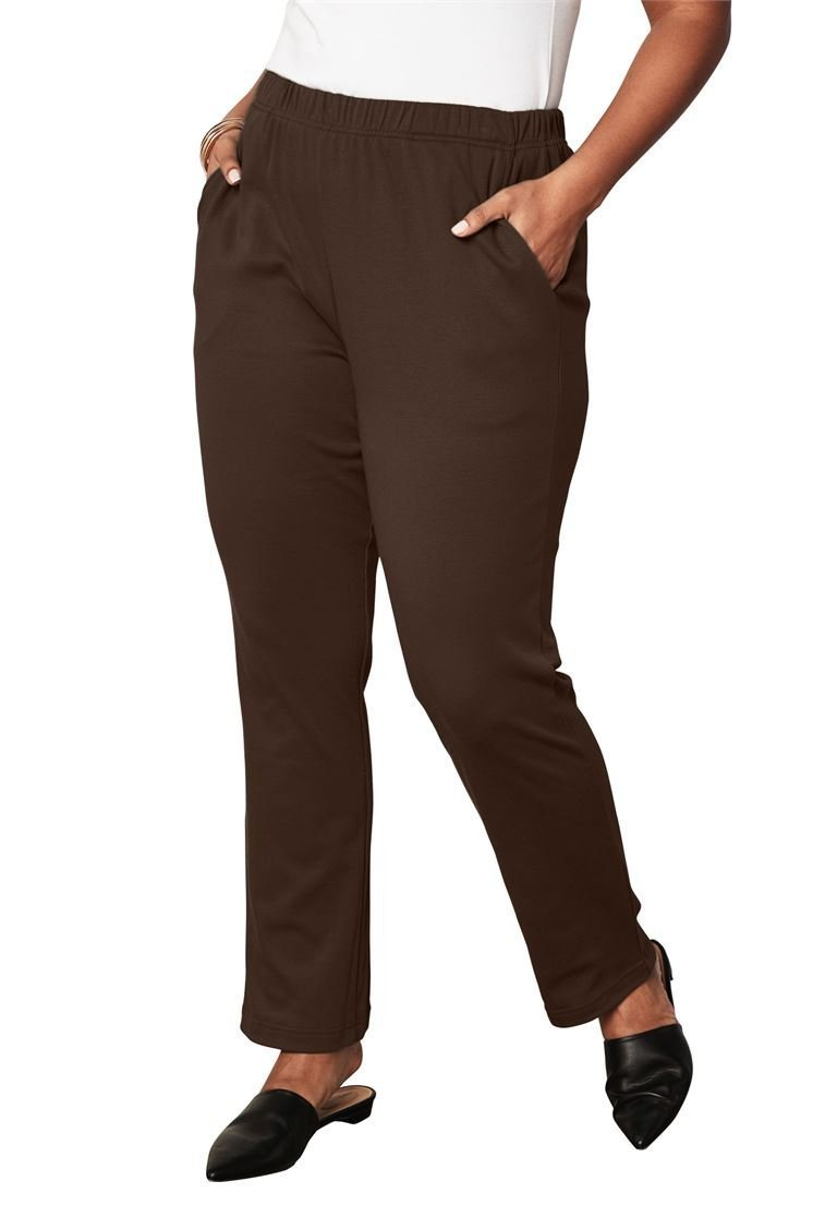 Roamans Women's Plus Size Tall Soft Knit Straight-Leg Pants