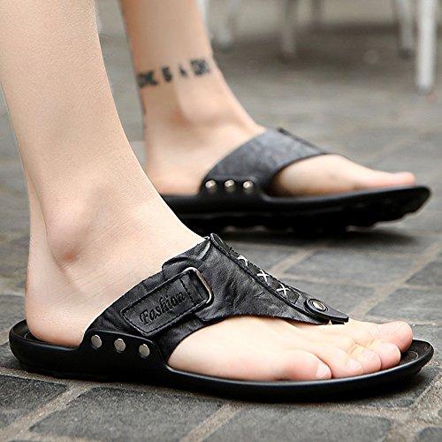 XIAOLIN Zapatillas de verano de cuero de los hombres de suave fondo antideslizante zapatillas Zapatillas británicas zapatos de playa de tendencia personalizada (tamaño opcional) ( Color : 03 , Tamaño  03