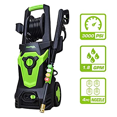 Azoran Electric Pressure Washer, Electric Power Washer with Hose Reel, 4 Quick-Connect Spray Tips, Car Washer Machine - 3000 PSI 1.8 GPM