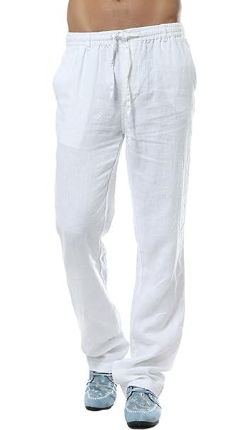 a1ca5478fb06 Insun Pantaloni Uomo Lino Pantaloni Casual Pantaloni Leggeri Estivi Bianco  42