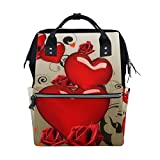 Backpack School Bag Wedding Rose Love Heart Canvas Travel Doctor Style Daypack