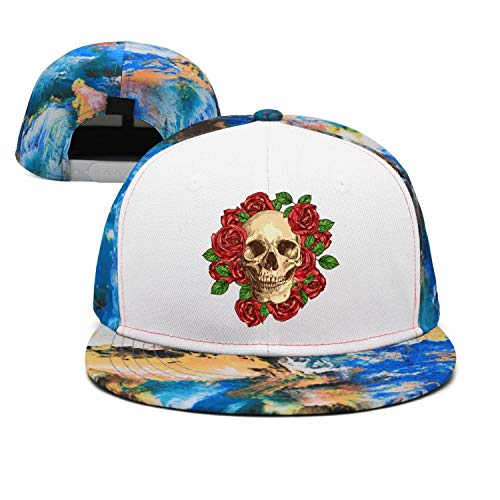Unisex Flowers Rose Skull Art Dad Baseball Cap Adjustable Snapback Hip Hop -
