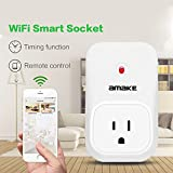 AMAKE WiFi Smart Plug/Socket, Electrical Outlet Switch Intelligent Wireless Timer Socket Household Appliances Remote Control via App for iPhone iPad Android Smartphone on 2G/3G/4G/2.4GHz