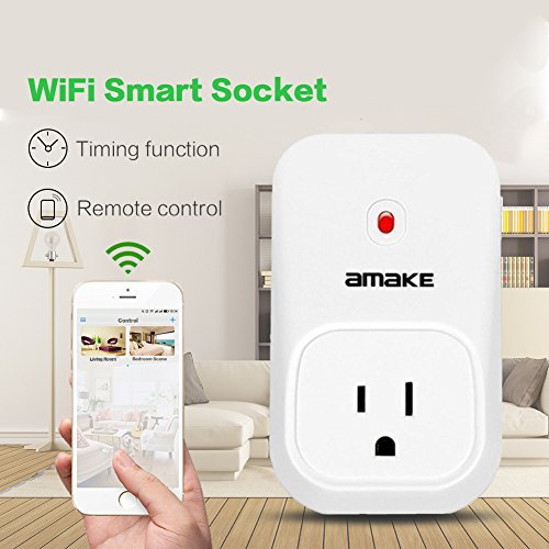 AMAKE WiFi Timer Plug Remote Control Sockets Programmable Electrical Outlet Switch Smart Socket Controlled Via Android/iOS APP US Standard Smart Home Automation with 3 Modes, White