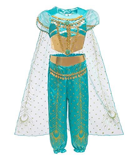 Le SSara Jasmine Princess Costume for Kids Sequined Halloween Aladdin Arabian Costume Set Dress Up for Girls (110 (4-5 Years), D71-green)