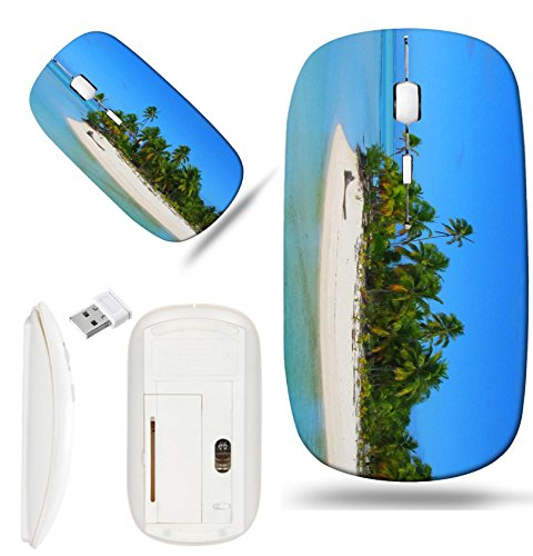 Luxlady Wireless Mouse White Base Travel 2.4G Wireless Mice with USB Receiver, 1000 DPI for notebook, pc, laptop, computer, mac design IMAGE ID 4293654 Beautiful beach in One Foot Island Aitutaki Cook