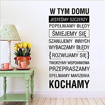 zxddzl Polonia Reglas de la casa Etiqueta de la Pared Decoración ...