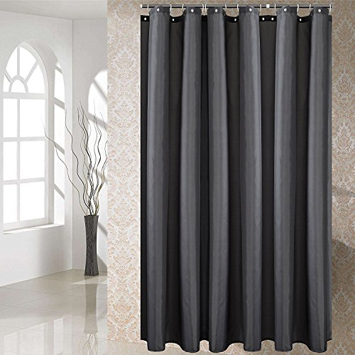 Luunaa Extra Thicken Premium Quality Shower Curtain Polyester Fabric Mildew Resistant/Anti-Bacterial/Non-Toxic/Washable (Dark Grey 72x72)