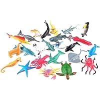 Toyvian Mini Juguetes de Figuras de Animales Marinos Juguetes de Piscina de Animales Marinos establecidos 24pcs (Estilo Mixto)