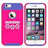 Apple iPhone 6 Plus / 6s Plus Shockproof Impact Hard Case Cover Dachshund Mom (Hot Pink-Blue)