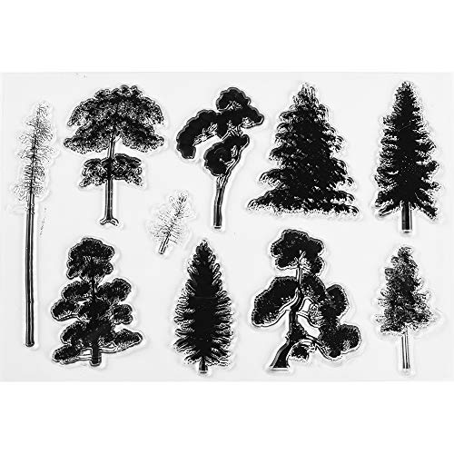 MaGuo Variety Christmas Woodland Trees Clear Stamps Jungle for DIY Scrapbooking Photo Album Card Making Decorative