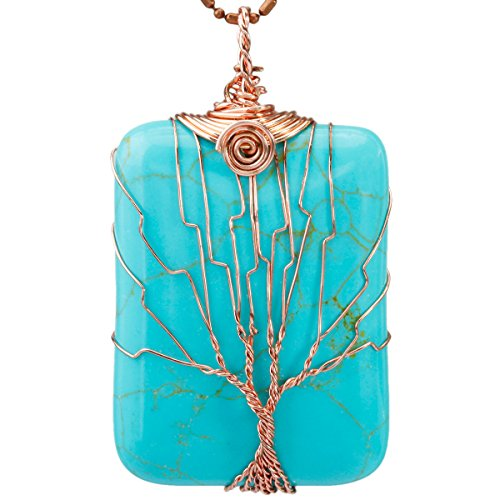 SUNYIK Green Howlite Turquoise Oblong Tree of Life Pendant Necklace,Handmade Copper Wire Wrapped Jewelry